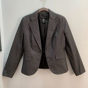 Cropped Grey and White Pinstripe Blazer